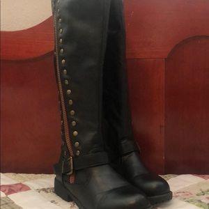 Black size 7 knee high boots with inner leg zipper